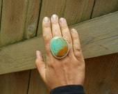 turquiose freeform ring, sterling silver, cocktail ring, huge ring, boho ring, gypsy ring, size 8, ready to ship