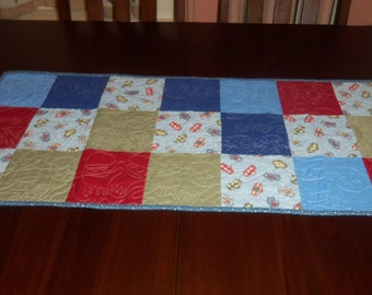 Quilted Table Runner, Handmade,  Winter Mittens, Sale Priced, Table Topper, Machine Quilted, Winter Holiday Decor, 16 x 37 Inches