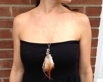 Feather necklace - Swaroski Pearls - long silver chain - handmade jewelry - artisan jewelry