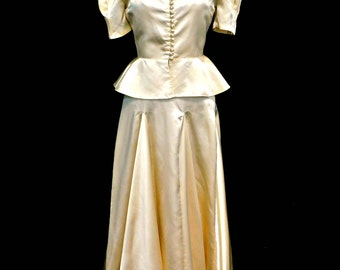 Vintage 1930's 30's Liquid Satin Wedding Gown Dress 2 Piece Peplum Top Old Hollywood Glamour XS