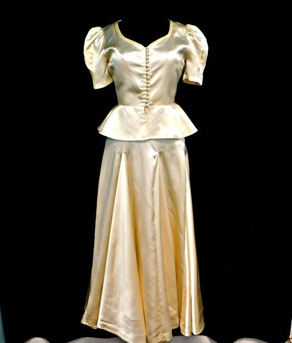 Vintage 1930's 30's Liquid Satin Wedding Gown By