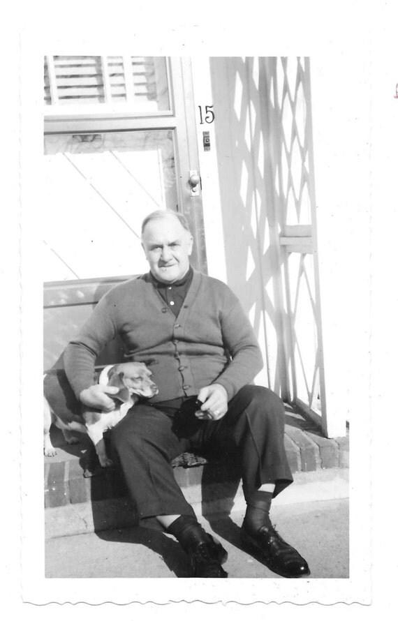 two old buddies vintage photo man pet beagle dog 1950s