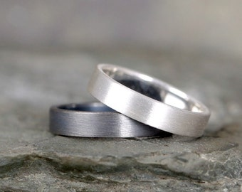 4mm Matte Finish Wedding Band – Sterling Silver – Commitment Rings – Wedding Bands – Unisex Design – Modern –Oxidized Patina or Plain Finish