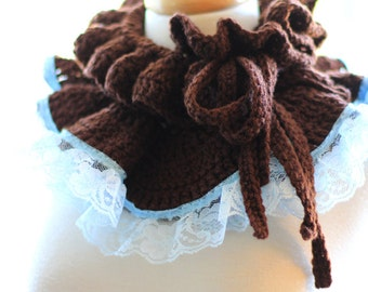 Ruffle Neck Warmer - Fall Fashion Collar in Coffee Brown with Light Blue Lace by Mademoiselle Mermaid
