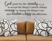 Serenity Prayer God grant me the serenity... vinyl lettering quote sticker wall saying decal