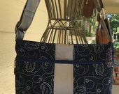 Concealed Carry Cross Body Purse in Blue Paisley Denim