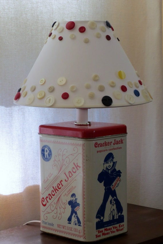 Cracker Jack tin table lamp with button lampshade