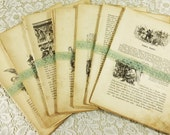 Antique History Book Pages, German History Der Franzofifche Krieg, Engraved Drawing Aged Text for Collage and Journals