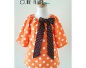 Girl Birthday Dress, Girl Peasant Dress, Toddler Orange Dress,  Orange PolkaDots Peasant Dress, Size 2T Ready To Ship