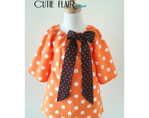 Girl Birthday Dress, Girl Peasant Dress, Toddler Orange Dress,  Orange PolkaDots Peasant Dress, Size 2T Ready To Ship