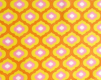 Orange Gold Yellow Pink White Ogee Geometric Quilter's Weight Cotton Print Fabric - One Yard - Yardage - Fabric by the Yard