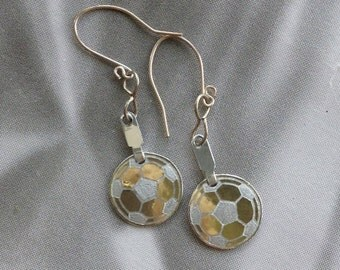 Petite Engraved Soccer Ball Earrings