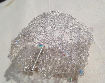 Crochet Knitted bracelet fine silver wire -Swarovski crystals- Aurora Borealis Handmade fit for a bride