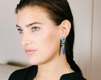 Black Opal Dangle Earrings, Australian Black Opal, Long Post Earrings, Blue Lapis  Blue Green Gemstone Earrings, October Birthstone