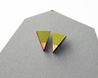 Wooden triangle stud earrings - green and gold - minimalist, modern, hand painted jewelry