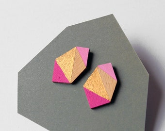 Geometric diamond geo shape stud earrings - hot pink, rose, gold, natural wood - minimalist, modern hand painted wooden jewelry