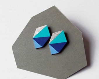 Geometric faceted diamond geo shape stud earrings - blue shades, turquoise, silver - minimalist, modern hand painted wooden jewelry