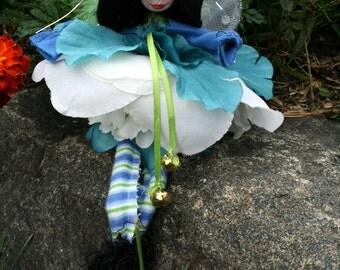 Flower Fairy Art Doll, Woodland Fairy Pixie Ornament Gift Tag
