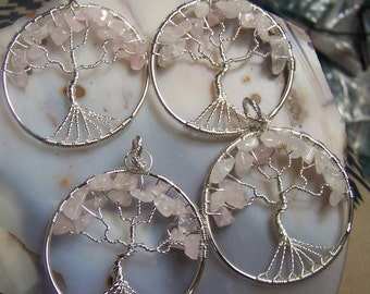 Rose Quartz Tree of Life pendant - pink to white to clear stone natural chip beads - circular focal bead or made to order necklace silver