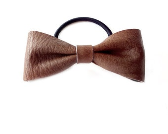 Ponytail Holder Elastic Hair Tie - Leather - Ash Brown - The Lifestyle: Large Skinny Leather Bow