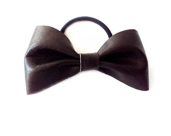 Ponytail Holder Elastic Hair Tie - Leather - Dark Brown - The Lifestyle: Large Chubby Leather Bow