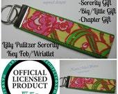Lilly Pulitzer Sorority Fabric / Chi Omega Key Fob Wristlet / Preppy/ Big Little Gift / Stocking Stuffer/Chapter Gift