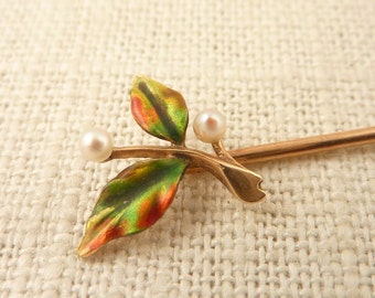 Antique 14K Gold Art Nouveau Enamel and Seed Pearl Flower Stick Pin