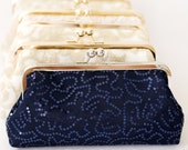 Navy Blue Sequins Tulle Clutch | Bridesmaids | Mother's Clutch