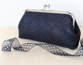 Black Alencon Parsley Lace Clutch | Bridesmaid Clutch | Black and White Wedding | Holiday Gift for Her Under 60