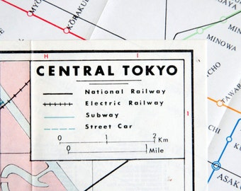 1965 Street Map of Central Tokyo, Japan -