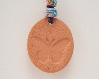Butterfly Terra Cotta Aromatherapy Necklace - with or without Essential Oil of Your Choice - Natural Diffuser Jewelry - No Metal Pendant