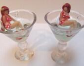 Tiny Martini Earrings w/ Burlesque Pin Up Girl Vixen in a Red & White Polkadot Bikini Reclined inside the Glass