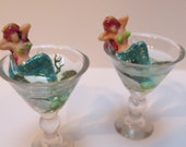 Tiny Mermaids Lounging in a Martini Glass  -  Acrylic Earrings