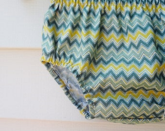 Bloomers READY TO SHIP  12-24 months Green and Yellow Chevron Diaper Cover