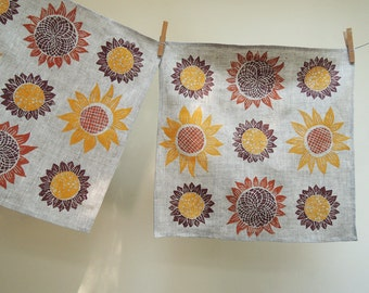 Harvest Sunflowers kitchen decor hand block printed natural gray brown linen napkins home decor modern rustic farmhouse wedding hostess gift