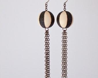 Ball and Chain - Large - Beach Ball Wood Burned Maple Bead Earrings