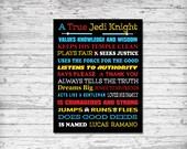 Star Wars, Star Wars Decor, Star Wars Art, A True Jedi Knight, Personalized Star Wars Art, Star Wars Poster, Printable Download Art, Jedi