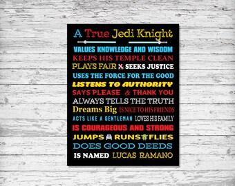 Star Wars, Star Wars Decor, Star Wars Art, A True Jedi Knight, DIY JPG PRINTABLE, Personalized Star Wars Art, Star Wars Poster, Jedi