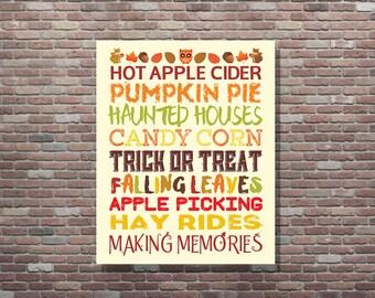 Fall Decor, Fall Word Art, Fall Art Print, Fall Sign, INSTANT DOWNLOAD, Autumn Decor, Halloween Decorations, Family Word Art