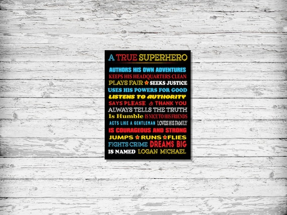 A True Superhero, Personalized Superhero Wall Art, Superhero Room, Superhero Gifts,DOWNLOAD ART,Superhero,Decor, Boys Bedroom, Playroom Art