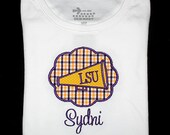 Custom Personalized Applique LSU Tigers Gingham Cheer MEGAPHONE Patch and NAME Shirt or Bodysuit - Or Choose Your Team Colors