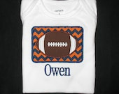 Custom Personalized Applique Chevron Stripe FOOTBALL PATCH and Name Shirt or Bodysuit - Auburn Tigers Colors - Orange and Navy Blue