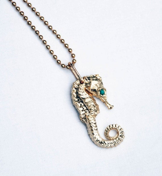 Solid 10k Yellow Gold Seahorse with Genuine Turquoise Eyes on 14 k yellow gold ball chain