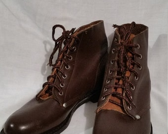 NOS vintage mens lace-up boots, brown leather, Biltrite sole, deadstock
