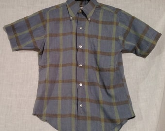 Vintage boys plaid shirt, 1950s, Rob Roy, Size 14.
