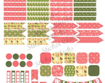 Christmas and Owls Full Page Planner Stickers