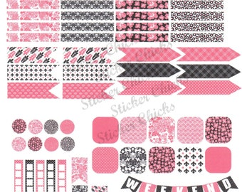 Pink and Black Planner Stickers