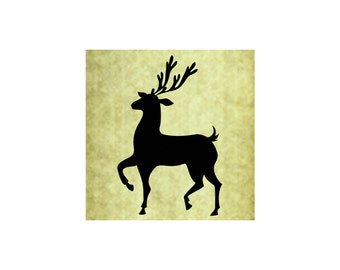 REINDEER SILHOUETTE STAMP,Bold Large,Cling,Vintage Christmas,Rustic,Holiday Card Making, Santa's Deer, Buck with Antlers,Craft  (56-02)
