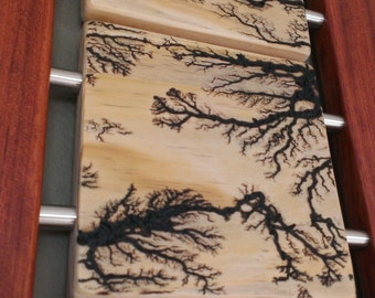 High Voltage 4 Lichtenberg - Clear Pine and Bubinga Wall Art