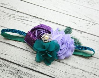 Purple turquoise blue sparkle rhinestone headband